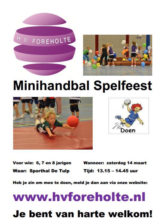 Minihandbal Spelfeest zaterdag 14 maart 2015
