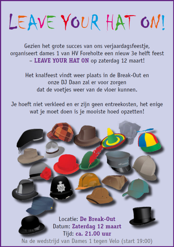 uitnodiging leave your hat on